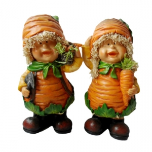Carrot head boy and girl figurine