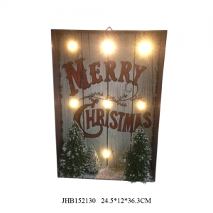 iron Wall Decoration LED Light Up Xmas Sign Plaque